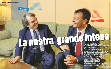 Stefano Fassina (PD, viceministro dell'economia del Governo Letta) e Renato Brunetta (capogruppo PDL alla Camera dei Deputati).